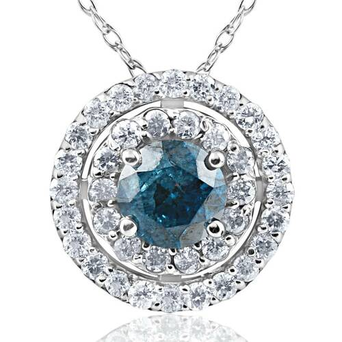 1 1/4ct Blue & White Diamond Double Halo Pendant 14K White Gold (H-I, I1-I2)