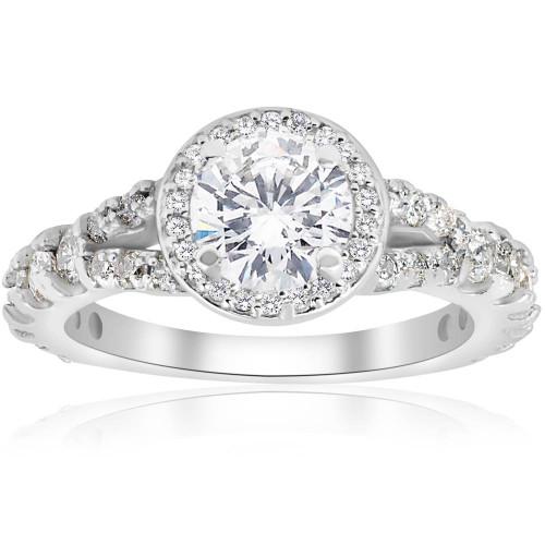1 1/4ct Halo Split Shank Diamond Engagement Ring 14K White Gold (G/H, I1)