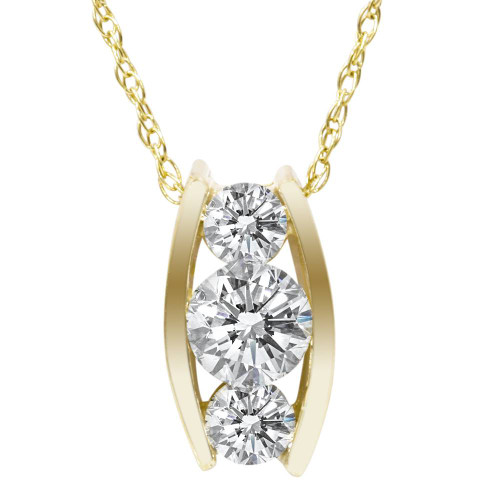 1/2ct Three Stone 3 Diamond Pendant 14K Yellow Gold (H, I1-I2)