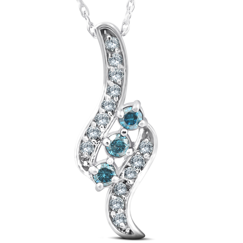 1/3ct 3-Stone Blue Diamond Pendant 14 KT White Gold (G/H, I2)