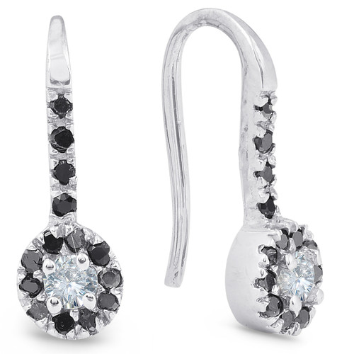 1/4ct Black Diamond Dangle Drop Studs Earrings 10K White Gold (G/H, I1)