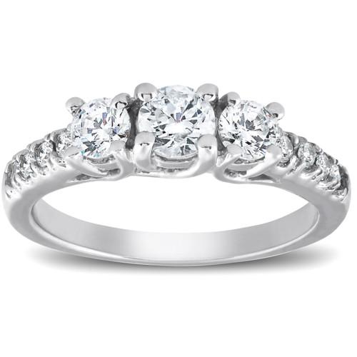 1 1/4ct Three Stone Lab Created Diamond Engagement Ring 14K White Gold (((G-H)), VS/SI)
