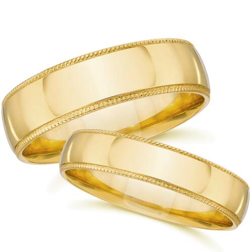 Matching Gold His Hers Polished Wedding Band Ring Set