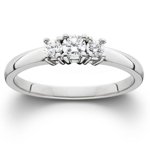 1/4ct White Gold Three Stone Diamond Engagement Ring (J/K, I1-I2)