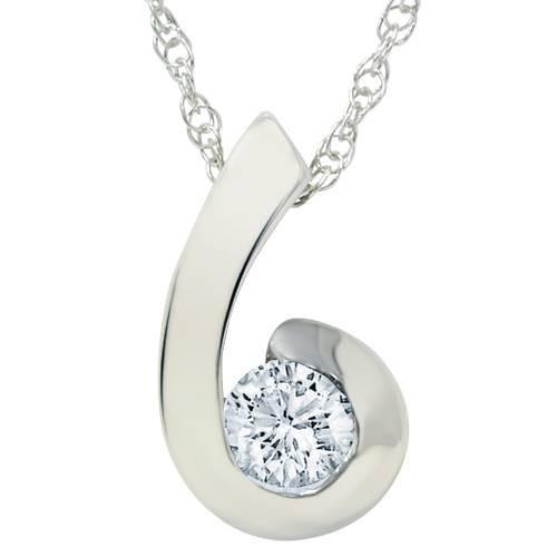 1/2ct Round Brilliant Diamond Solitaire Swirl Pendant (H-I, I1-I2)