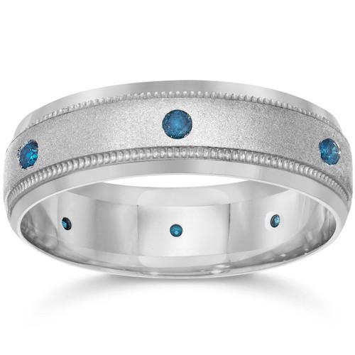 Blue Diamond Mens Wedding Ring 10k White Gold (Blue, I1-I2)