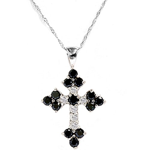 1 3/4ct Black & White Diamond Cross Pendant White Gold (G/H, I1)