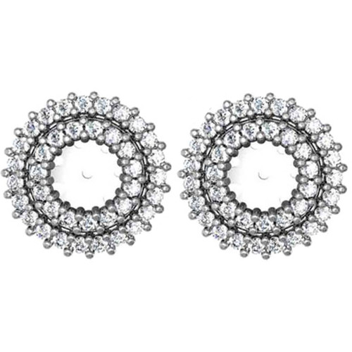 7/8ct Diamond Earring Studs Double Halo Jackets 14K White Gold (5-5.5mm) (G-H, I1)