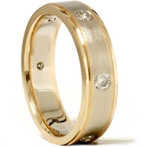 Mens 3/4ct 14K Gold Diamond Comfort Fit Wedding Ring (G/H, SI)