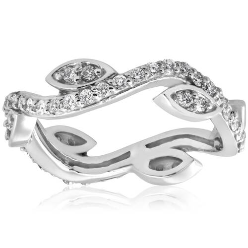 1/2Ct Diamond Vintage Vine Floral Eternity Stackable Wedding Ring 14K White Gold (H/I, I1-I2)