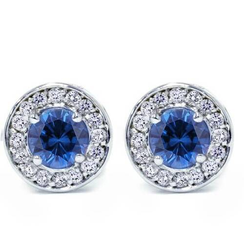 5/8ct Halo Diamond Blue Sapphire Studs 14K White Gold (G/H, I1)