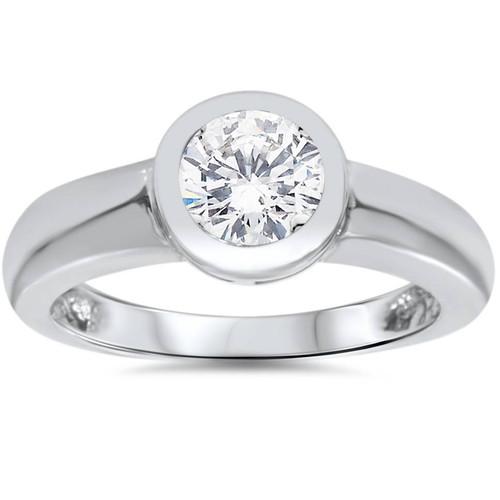 1ct Bezel Set Solitaire Diamond Engagement Ring 14K White Gold Round Enhanced (G/H, I1)