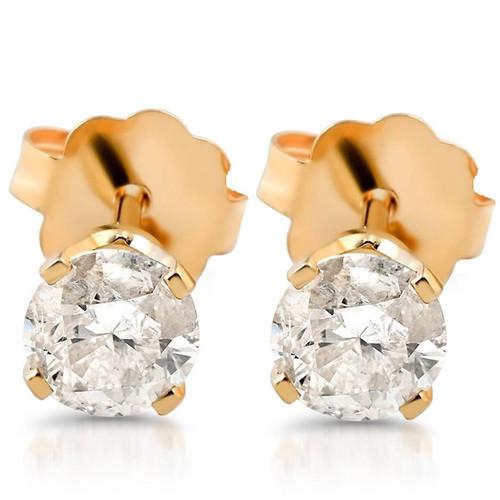 3/8ct Round Cut Diamond Studs Earrings 14K Yellow Gold (G/H, SI2/SI3)