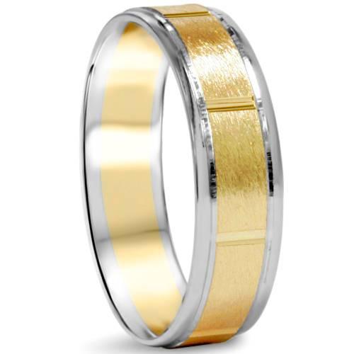 Brushed 6mm 14K White & Yellow Gold Two Tone Wedding Band