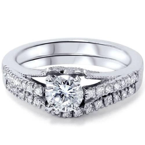 Platinum 1ct Diamond Engagement Matching Wedding Ring Set Vintage (G/H, SI1-SI2)