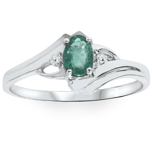 1/2ct Genuine Oval Emerald & Diamond Ring 14K White Gold (H/I, I2-I3)
