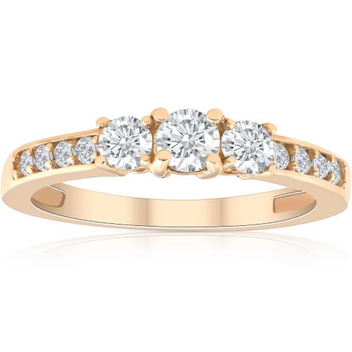 1/2ct Diamond Three Stone Ring 14K Yellow Gold (H/I, I1-I2)