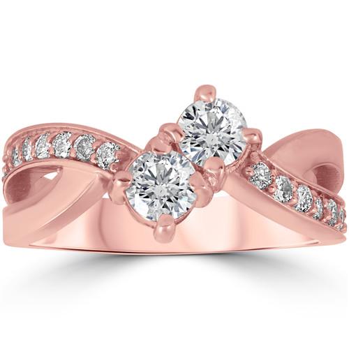 1 cttw Forever Us 2-Stone Diamond Engagement Cross Over Ring 10k Rose Gold (G/H, I1-I2)