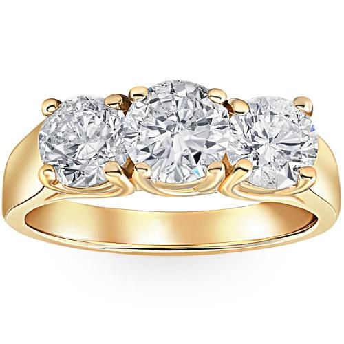 3ct Diamond Three Stone Wedding Anniversary Ring 14k Yellow Gold (G/H, I1)