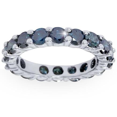 3ct Blue Diamond Eternity Ring 14K White Gold (Blue, I1)