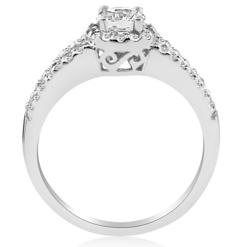 1ct Halo Split Shank Diamond Vintage Halo Engagmeent Ring 14K White Gold (G/H, I2-I3)