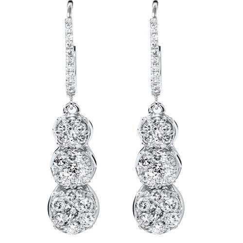 "1ct Dangle Pave Diamond Earrings & Hoop 14K White Gold 1 1/4"" Tall (G/H, I2-3)"