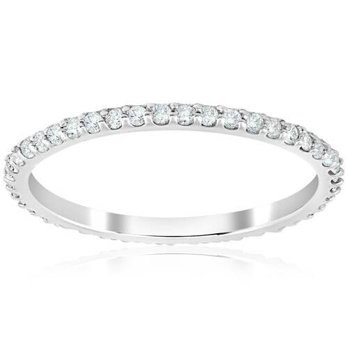 1/2 Ct Diamond Eternity Wedding Stackable Ring 14K White Gold 1.7mm Wide (H/I, I2)