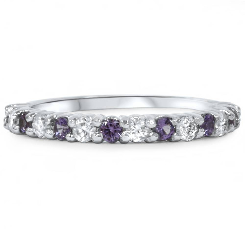 1/2ct Alexandrite & Diamond Half Eternity Ring 14K White Gold SZ5 (Not Enhanced) (G/H, SI2-I1)