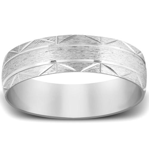 Brushed Wedding Band 950 Platinum Handcarved 7MM Mens Ring