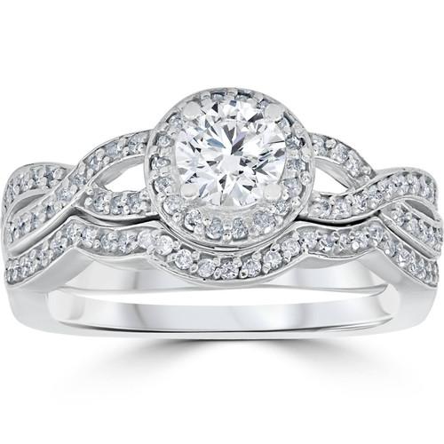 1 1/10ct Curve Engagement Ring & Matching Wedding Band 14K White Gold (G/H, I1-I2)