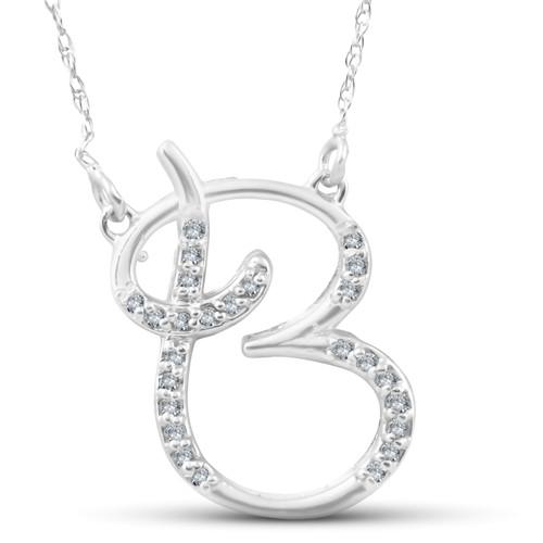 "1/4ct Diamond ""B"" Initial Pendant 18"" Necklace 14K White Gold (G/H, I2)"
