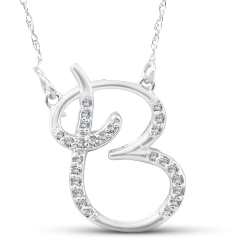 "1/4ct Diamond ""B"" Initial Pendant 18"" Necklace 14K White Gold (G/H, I2)"