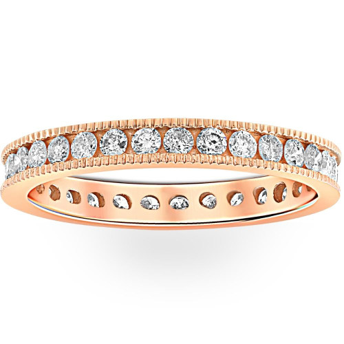 1ct Diamond Eternity Milgrain Ring 14K Rose Gold (G/H, I1-I2)