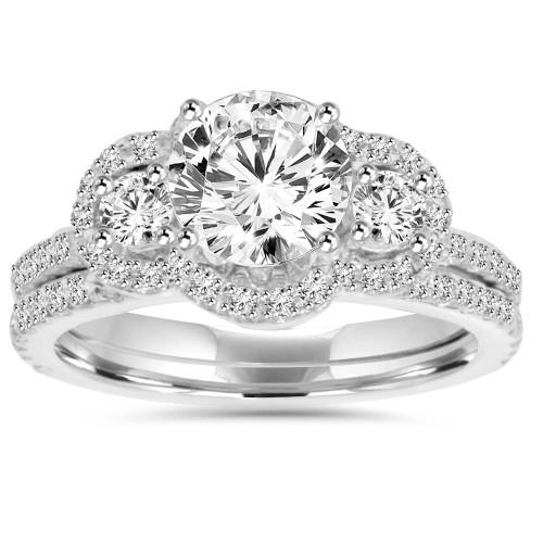 3CT Diamond Engagement Wedding Ring Set 14K White Gold (H/I, I1-I2)