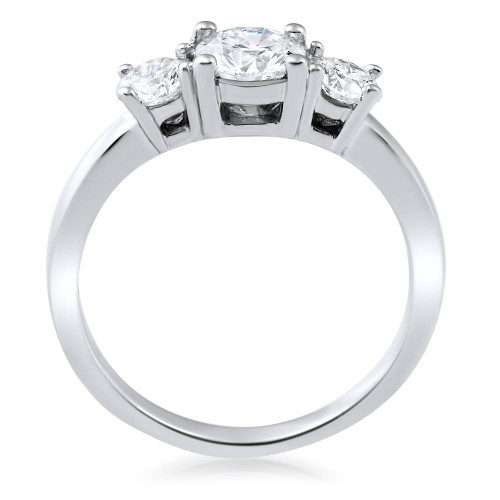 1 1/2ct 3 Stone Round Diamond Engagement Ring 14K White Gold Lab Created (G, VS2)