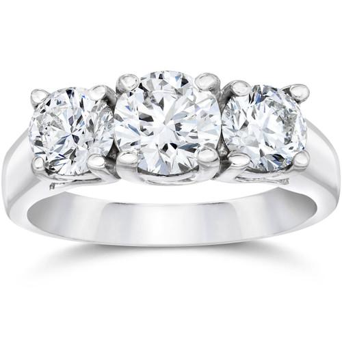 1 1/2ct 3 Stone Round Diamond Engagement Ring 14K White Gold Lab Created (G, VS2)