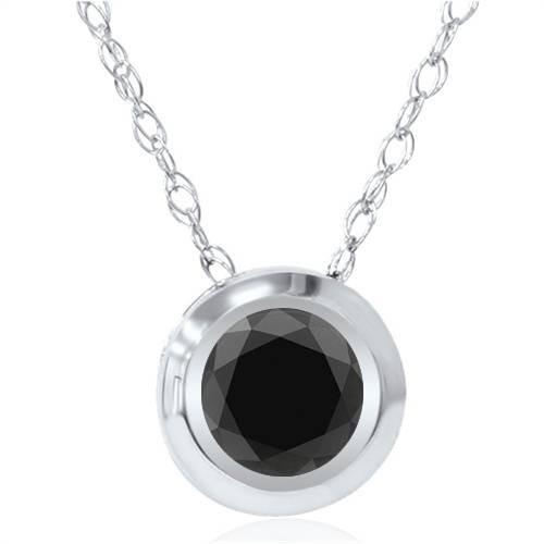 1/2ct Black Diamond Bezel Solitaire Pendant White Gold (Black, AAA)
