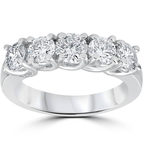 1 1/2ct Diamond Wedding Anniversary Band 14k White Gold Ring (G/H, I1)