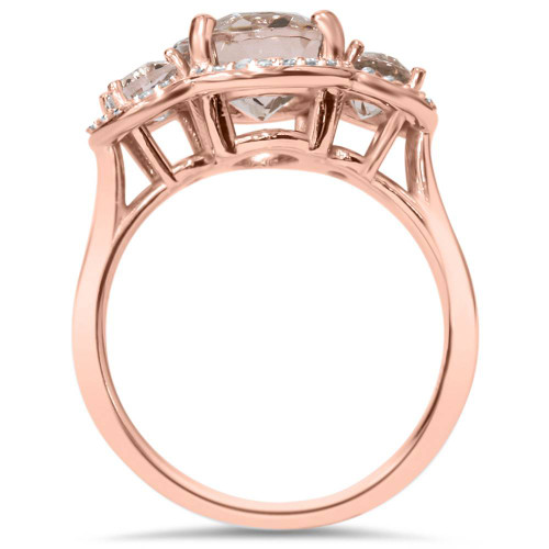 2 3/4ct Morganite 3 Stone Diamond Oval Halo Ring 14K Rose Gold (H/I, I1-I2)