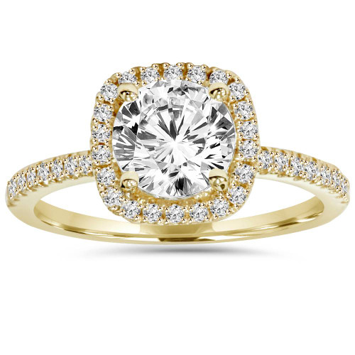 1 3/4ct Cushion Halo Clarity Enhanced Diamond Engagement Ring 14K Yellow Gold ((G-H), SI(1)-SI(2))