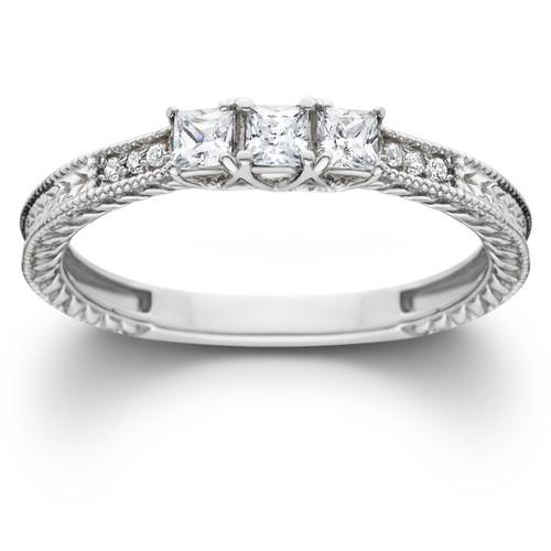 1/3ct Vintage Three Stone Princess Cut Diamond Engagement Ring 14K White Gold (H, SI2)