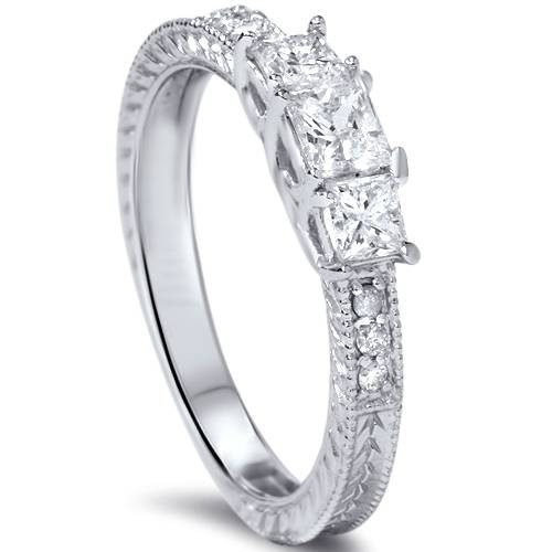 1/3ct Vintage Three Stone Princess Cut Diamond Engagement Ring 14K White Gold (H, SI2)