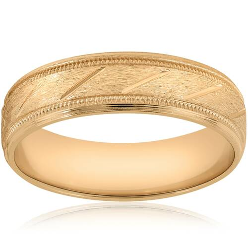 6mm Brushed Hand Carved Wedding Band 10K Yellow Gold
