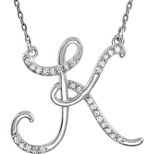 "1/4ct Diamond ""K"" Initial Pendant 18"" Necklace 14K White Gold (G/H, I2)"