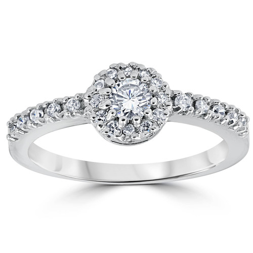 5/8ct Pave Halo Lab Created Diamond Engagement Ring 14K White Gold (F, VS/SI)