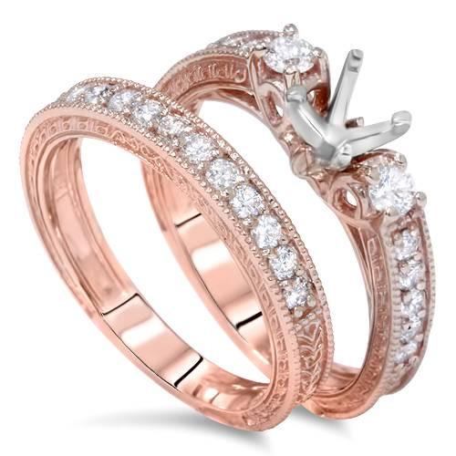 7/8ct Vintage Engagement Ring Mount Set 14K Rose Gold (G/H, VS2)