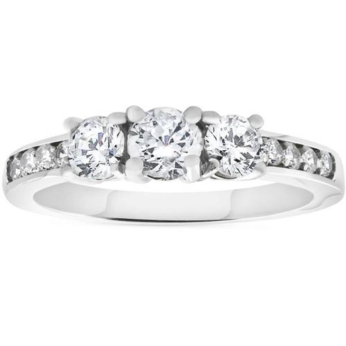 1ct 3-stone Diamond Engagement Ring 14K White Gold (H/I, I1-I2)