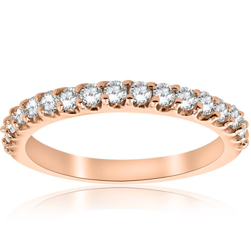 1/2CT Diamond Ring 14k Rose Gold Womens Wedding Anniversary Band (H-I, I1)
