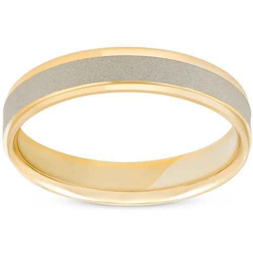 4mm 14K White & Yellow Gold Two Tone Brushed Wedding Band