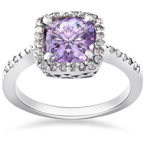 2ct Amethyst & Diamond Halo Anniversary 14K White Gold Ring (G/H, I2)